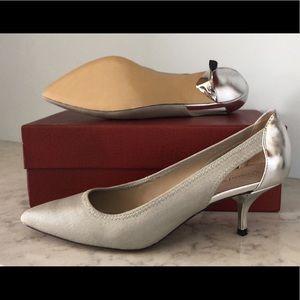 NIB silver kitten heel pumps - Donald J Pliner